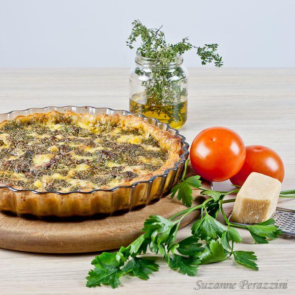 Tomato, Salami, Cheese & Pesto Tart