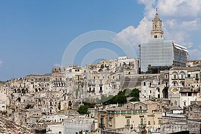 Roman Catholic Archdiocese of Matera Irsina. Italy architecture. Blue sky with few clouds in the background