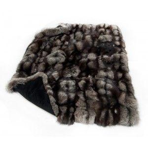 FurHome Silver Fox Fur Blanket - fur throw