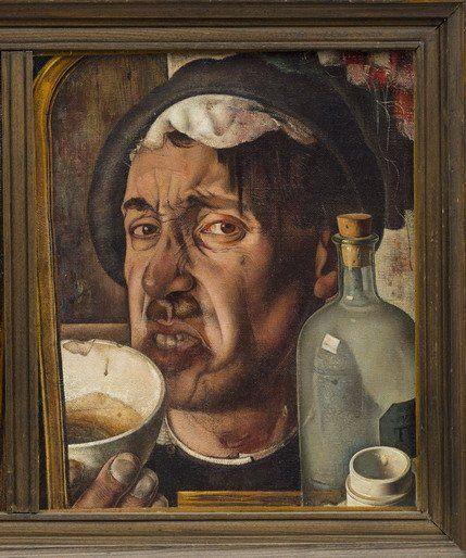 De medicijndrinker (uit de triptiek zelfportretten) olieverf - Ket, Dick - Museum Arnhem