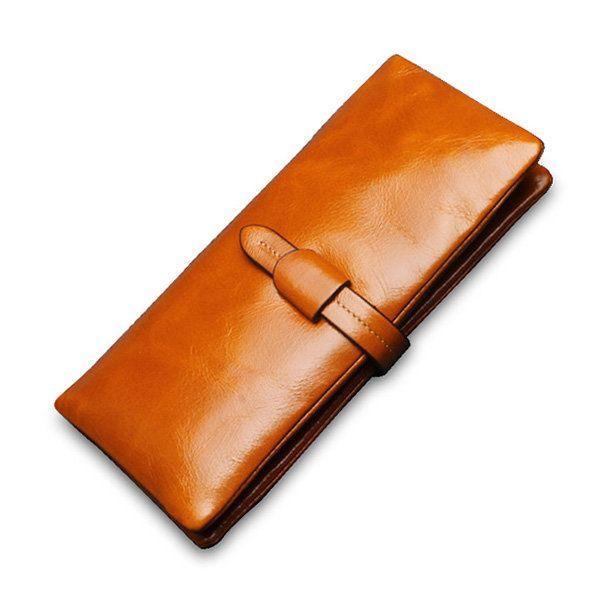 Hot-sale Women Genuine Leather Vintage Long Wallet Ladies Retro Casual Purse - NewChic