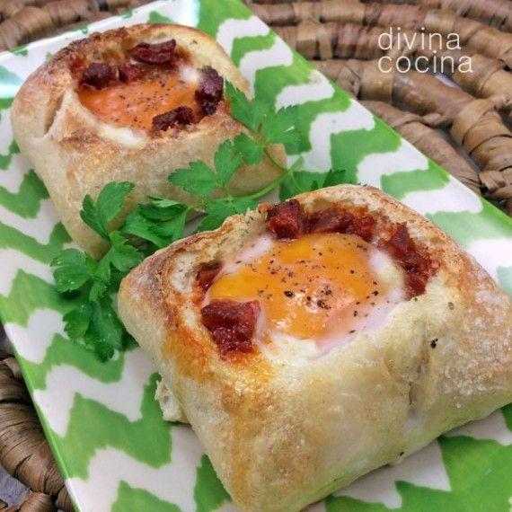 huevos al nido de pan en chapata