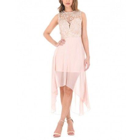 Asymetryczna szyfonowa sukienka na wesele z koronkową górą w kolorze nude