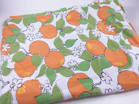 Vintage Orange Tablecloth Kitchen Tablecloth Orange Fabric Fruit Tablecloth Fruit Fabric Summer Outdoors by LivingAVntgLife