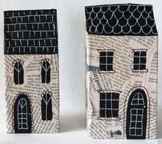 Mixed Media Nesting Houses SET of 2 HANDMADE Abstract Folk Art PRIMITIVE Karla G..now for sale... #FolkArtAbstractPrimitive