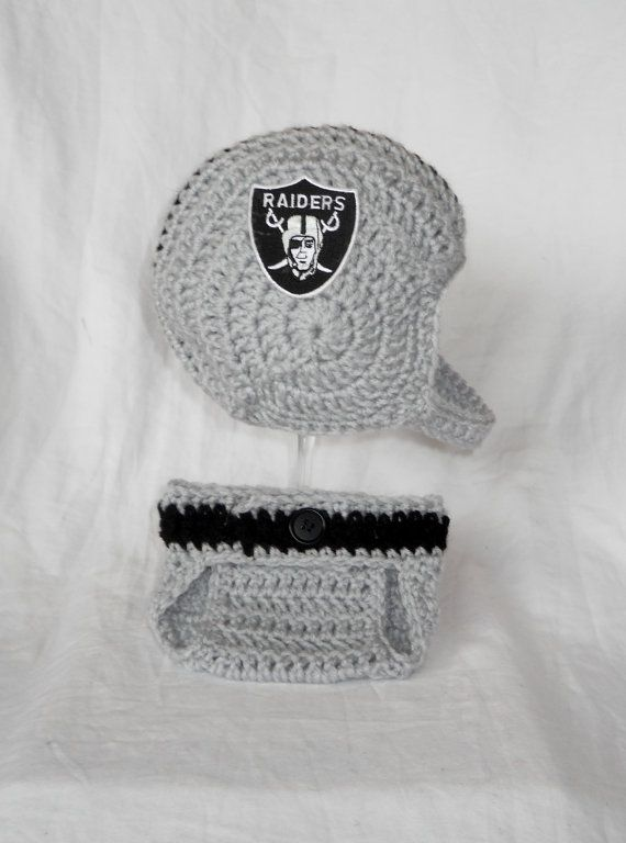 Hey, I found this really awesome Etsy listing at https://www.etsy.com/listing/161269539/oakland-raiders-inspired-crochet-baby