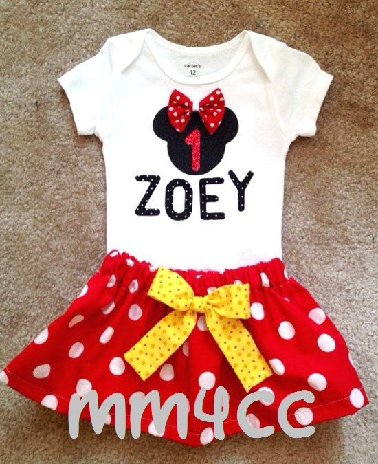minnie mouse birthday party outfits | Minnie Mouse outfit Dress first Birthday Party Red Skirt onesie Disney ...