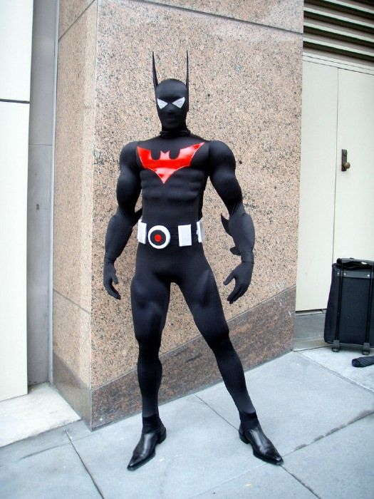 Batman Beyond: good effort.  His muscles are lumpy in the wrong places at a few spots, and he needs to rethink the shoes.  But I'm still impressed.