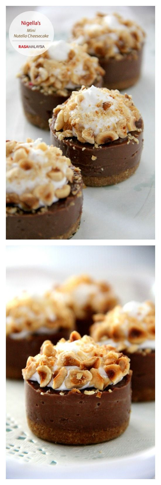 No Bake Mini Nutella Cheesecake with toasted hazelnuts, easy recipe that yields sinfully decadent cheesecake | rasamalaysia.com