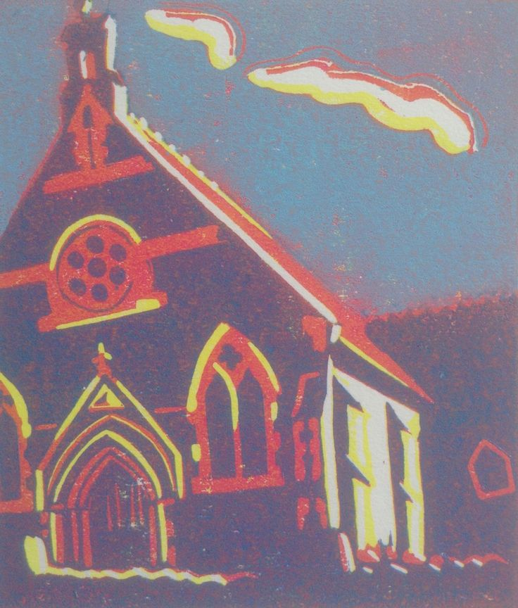 Glenfield Methodist Hall Leicestershire  Reduction Lino Print by Lesley Brooks