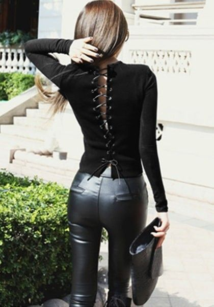 Pair leather leggings with a lace-up black top for a sleek look. Let Daily Dress Me help you find the perfect outfit for whatever the weather! dailydressme.com/