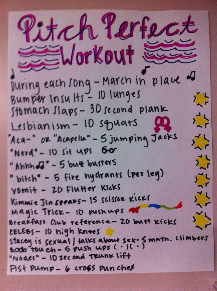 "Pitch Perfect workout ""Yeah don't put me down for cardio"""