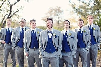 Hot Light Grey Wedding Men Suits Royal Blue Vest Groomsmen Suit Groom Tuxedos