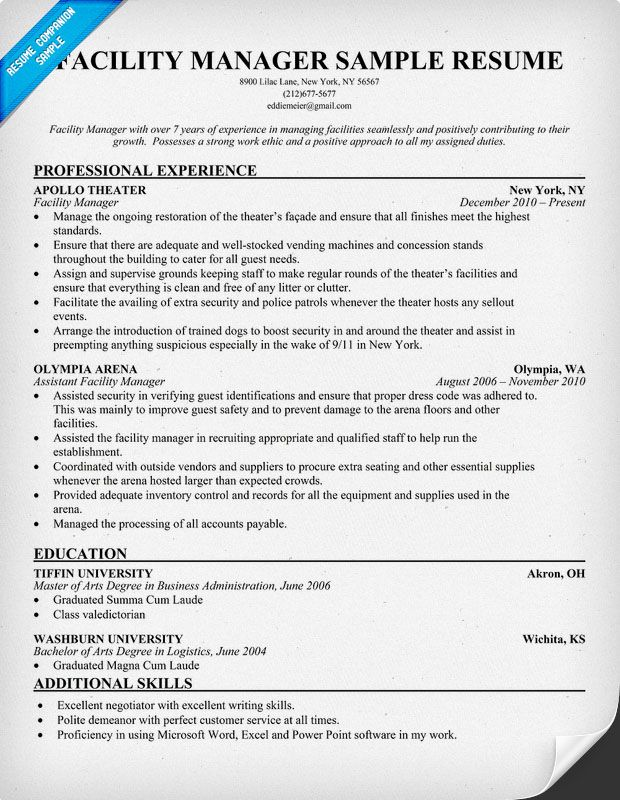 facilities manager resume sample