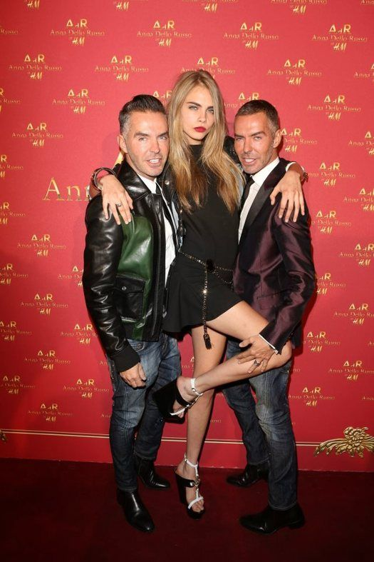 Dean Caten, Cara Delevingne and Dan Caten at Anna Dello Russo at H&M Launch Party, SEPTEMBER 27 2012