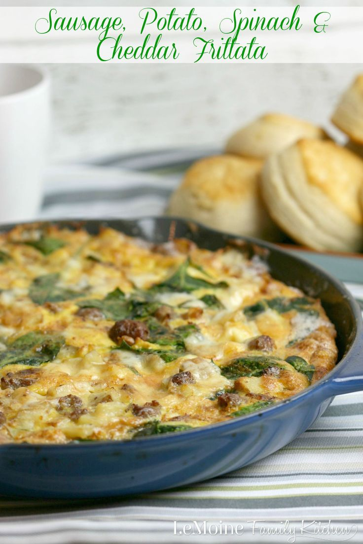 Sausage, Potato, Spinach & Cheddar Frittata. With @Johnsonville breakfast sausage #backtoschoolbreakfast just got a whole lot easier. Absolutely delicious!