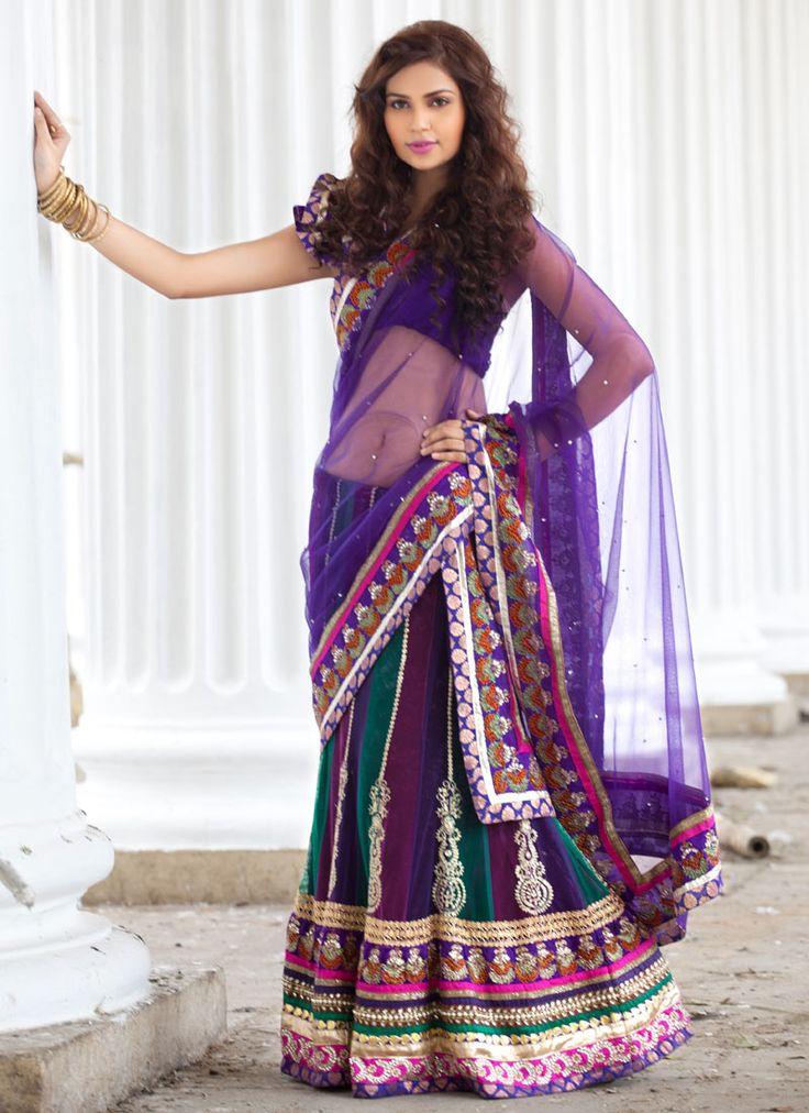 Multicolored Net Embroidered Lehenga Choli