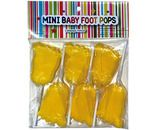 A bulk box of Mini Baby Foot Pops Yellow. Super cute foot shaped lollipops with in a dazzling baby yellow colour.