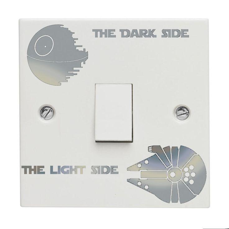 Star wars Light Switch Sticker Decal Death Star Millennium Falcon Vinyl Silver
