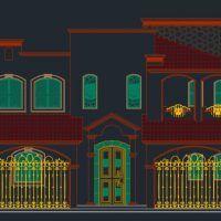 fachada principal plano de casa grande