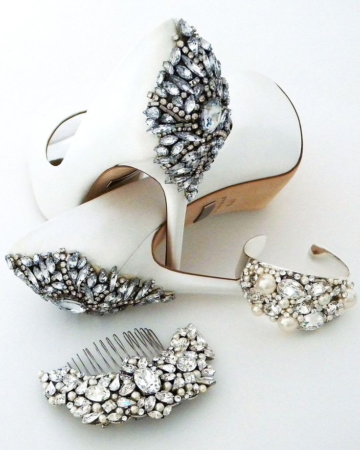 Got the dress? What's next? Why bridal shoes & accessories of course! Find your wedding shoes, bridal jewelry & accessories at perfectdetails.com.  shown:  Badgley Mischka wedding shoes, Cheryl King Couture cuff & bridal hair comb.