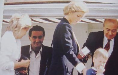 Diana with Prince William and Dodi Fayed and Mohammed Al Fayed pictured in the background - many years before that fateful summer with Dodi in 1997.