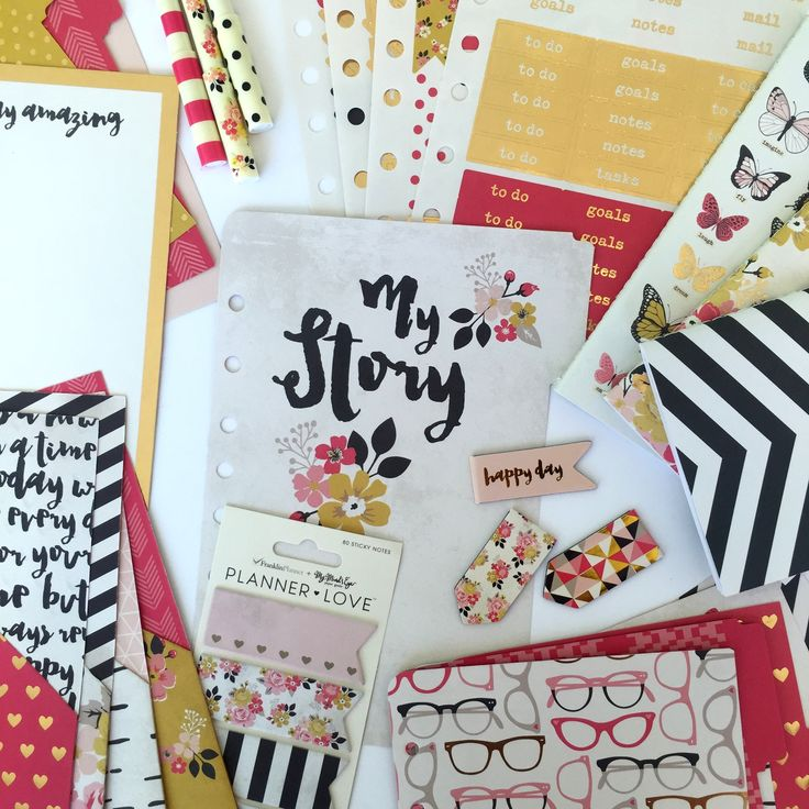 "The ""My Story"" line includes a dashboard, dividers, tabs, page clips, sticky flags, pens, stickers, notebooks and more! #plannerlove"