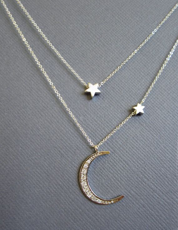 Star and Crescent Moon Necklace Layered Necklace Silver by Muse411, $62.00