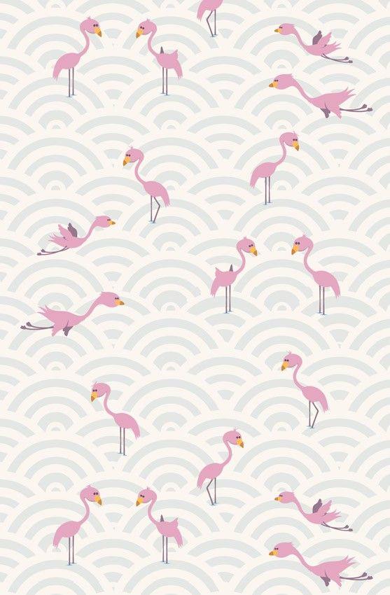 Craquez pour ce papier peint flamants roses et sublimez la for Papier peint avec rond de couleur