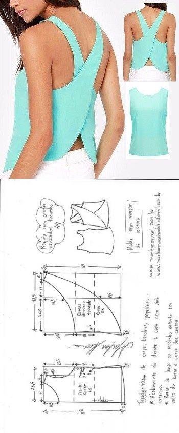 Blusa regata cruzada | DIY - molde, corte e costura - Marlene Mukai