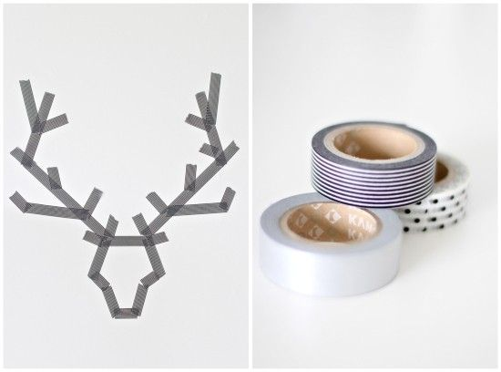 Tape and make a silhouette with paint and glitter