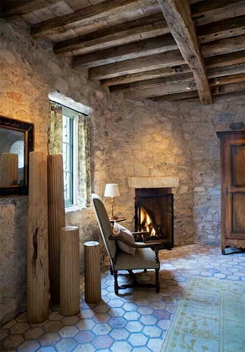 A fireplace room.