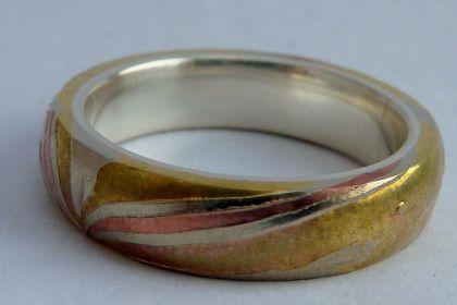 silver lined mokume gane ring