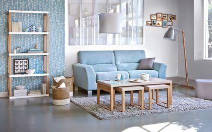 Un canapé moderne bleu glacier