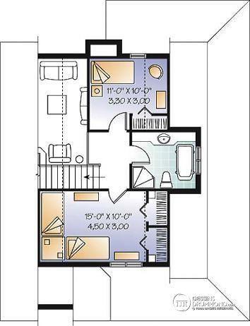 Étage Plan De Maison Champêtre Avec Balcon Couvert Sur 3 Faces, Gros Foyer,  Mezzanine