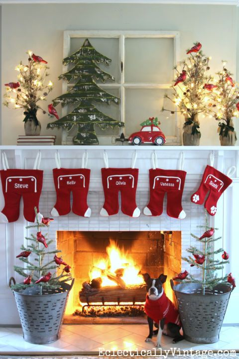 Bright lights, personalized stockings, and red cardinal-decorated plants make this a fun display your family (dog included) will love.