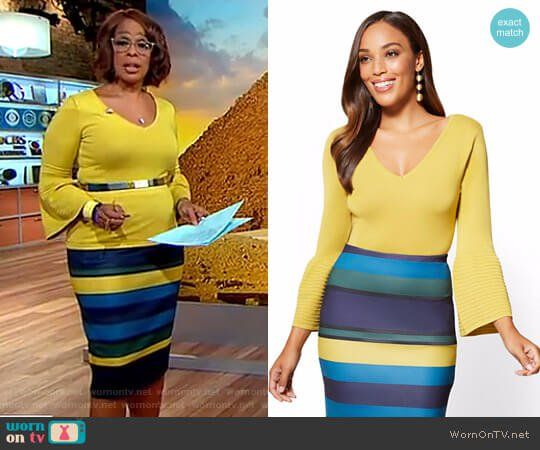 Gayle's yellow bell sleeve top and striped pencil skirt on CBS This Morning.  Outfit Details: https://wornontv.net/83003/ #CBSThisMorning