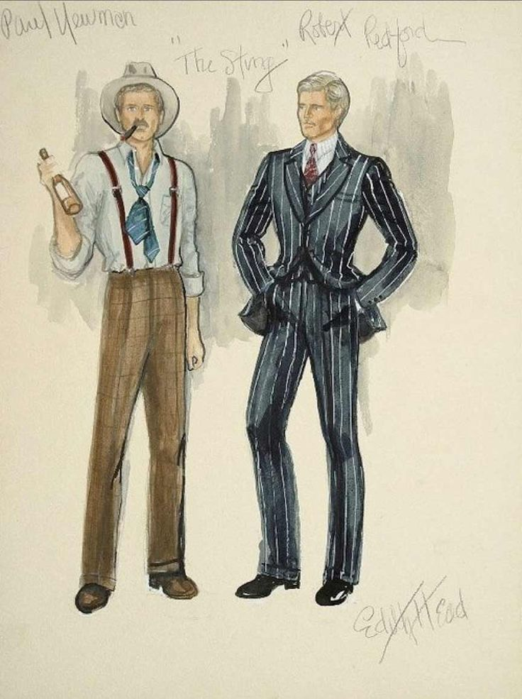 Edith Head sketch for Robert Redford in The Sting (1973) — Head won her 8th & final Academy Award for this film.