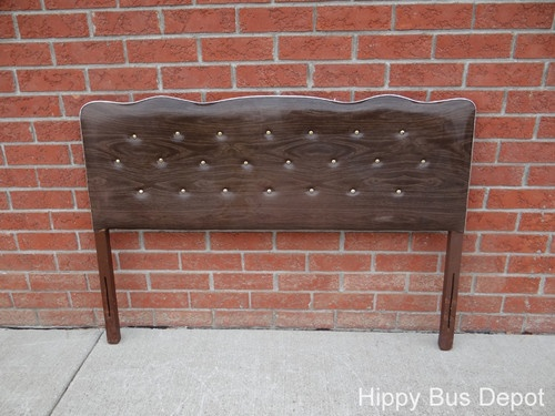 Mid Century Modern Faux Walnut Vinyl Button Tufted Full Bed Headboard Vintage | eBay