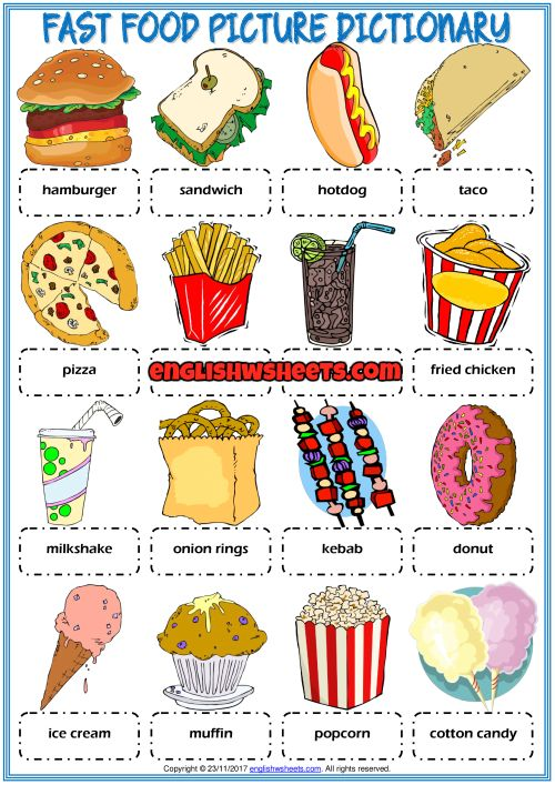 Fast Food Picture Dictionary Esl Printable Worksheet