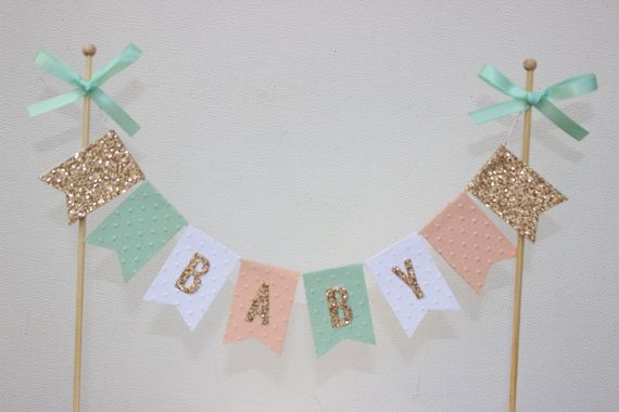 Cake Bunting/Cake Topper/Cake Banner. String of Pennants/Flags. Baby. Gold Glitter. Birthday - First Birthday - 1st - Baby Shower.