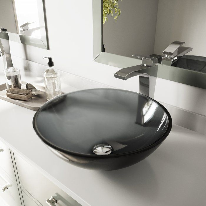 Glass Circular Vessel Bathroom Sink Glass Sink Drop In Bathroom