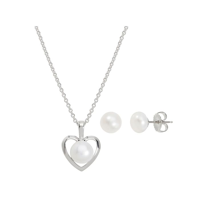 Freshwater by Honora Sterling Silver Freshwater Cultured Pearl Heart Jewelry Set, Women's, White