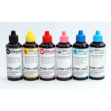 Conjunto de Tintas Premium p/ Epson 6 cores, (Preto, Magenta, Amarelo, Ciano, Magenta claro e Ciano claro). 6 x 100 ml. p/ T0771-6, T0781-6, T0791-6, T0801-6, T0811-6, T0851-6, T6731-6 e T6741-6