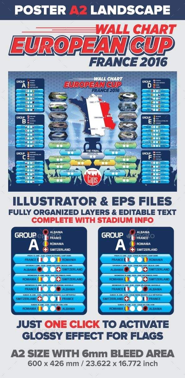 Wall Chart European Cup 2016 by Royan The best choice for your EURO CUP 2016 event promotion easily editable, highly organized file.. with ONLY ONE click to add glossy