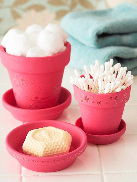 Blossoming Bathroom Storage - these would be cute to make and personalize for the kids bathrooms: Terra Cotta, Kids Bathroom, Bathroom Organizations, Cute Ideas, Bathroom Storage, Bathroom Accessories, Flower Pots, Bathroom Decor, Cotta Can