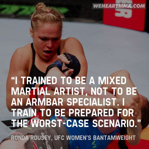 Let's hope we get to see what kind of a mixed martial artist Rousey is this weekend at UFC 157.