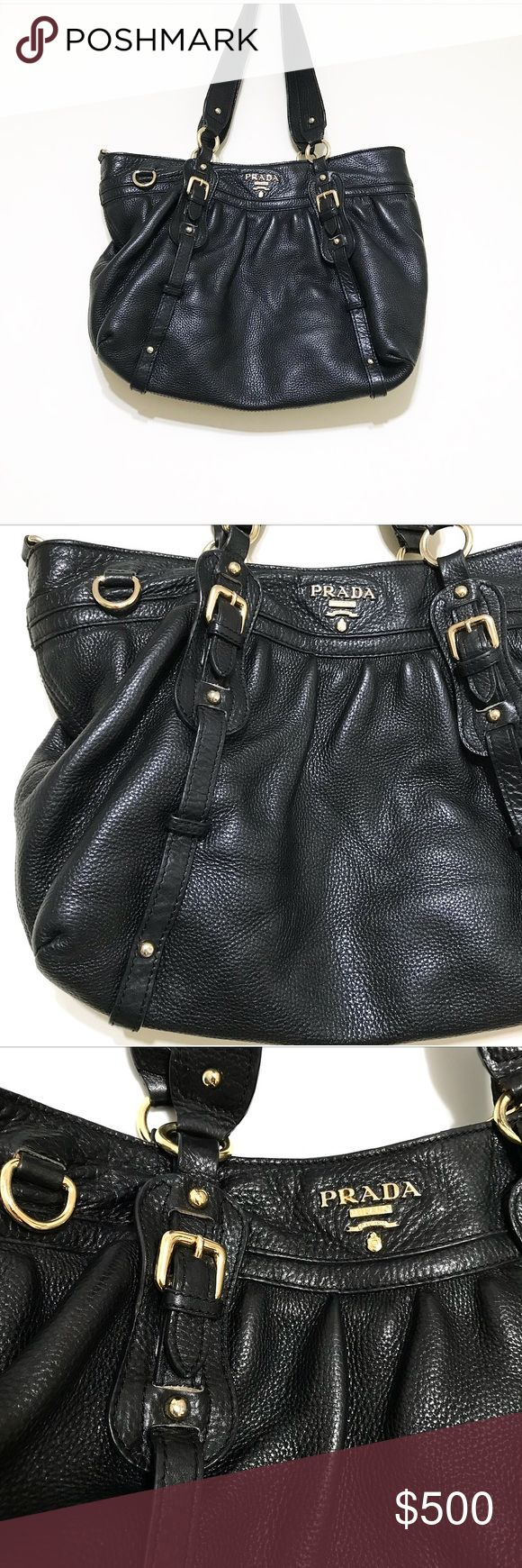 PRADA! Black pebbles leather. Excellent purse PRADA! Black pebbles leather. Excellent purse for daily wear or a night out. Slouch shoulder bag💕 gold hardware. The gold colored is fading on the label but it's so minor I can't even get it to show on camera. Sadly this is normal wear. Inside zipper pocket and two small side pockets inside. No crossbody strap. No wear on leather and inside is mint condition Prada Bags Shoulder Bags