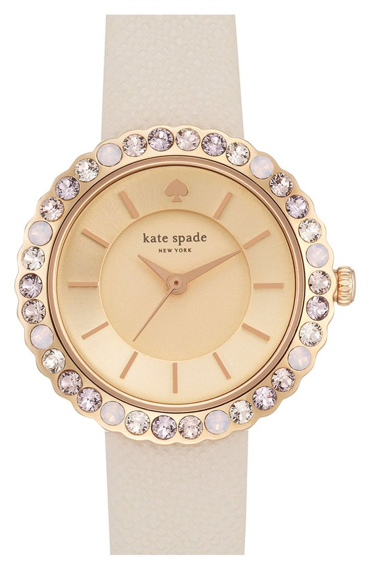 Love the sparkling crystals on this gorgeous nude Kate Spade watch.