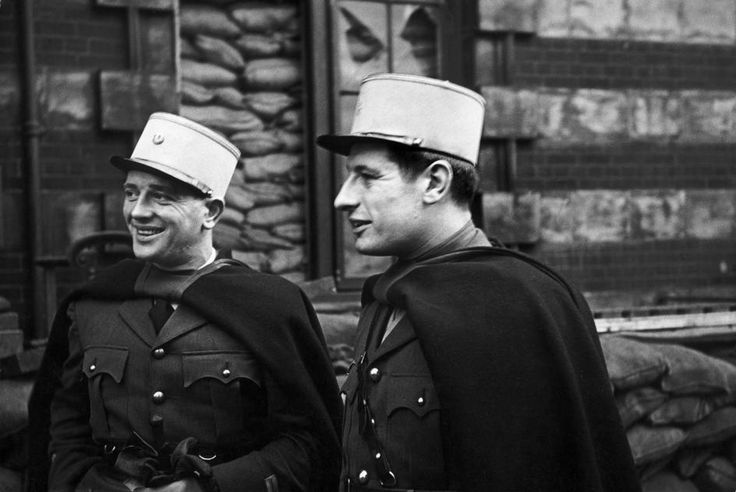 London, November 1940: Spahis officers among the first to join de Gaulle, outside their sandbagged headquarters.